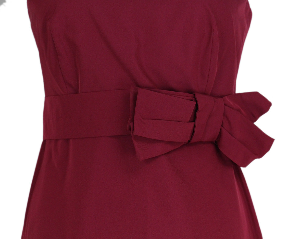 Max Mara Red Wine Silk Short Dress 5