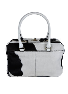 Max Mara White Brown Fur Cow Print Handbag 1