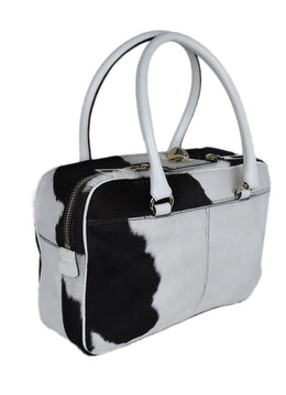 Max Mara White Brown Fur Cow Print Handbag 2