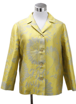 Max Mara Yellow Grey Silk Polyester Linen Jacket