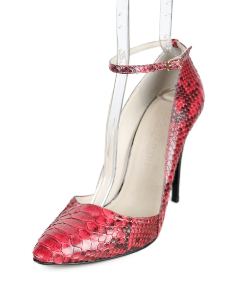 Max Martin Pink Burgundy Python Ankle Strap Shoes Sz 40.5