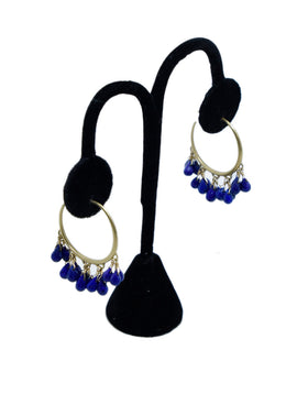 Me & Ro Blue Lapis 18 K Gold Jewelry Earrings 1