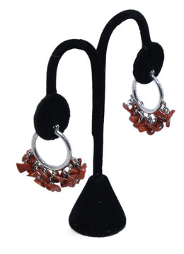 Me & Ro Sterling Silver Red Coral Beaded Hoops  Jewelry Earrings 2