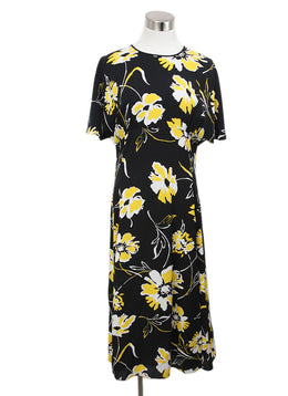 Michael Kors Black Dress with Yellow and White Floral Print 1