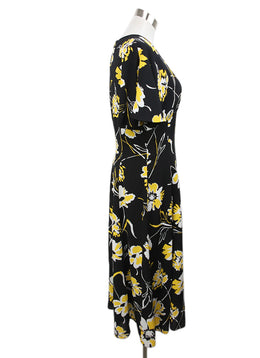 Michael Kors Black Dress with Yellow and White Floral Print 2