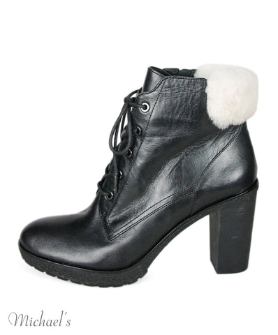 Michael Black Leather Faux Fur Trim Booties Sz 41