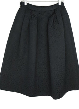 Michael Kors Black Damask Cotton Rayon Skirt 1