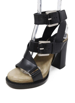 Michael Kors Black Leather Buckle Trim Shoes
