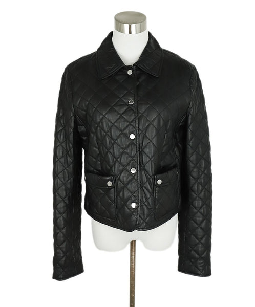 Michael Kors Black Quilted Leather Jacket Outerwear 1