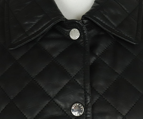 Michael Kors Black Quilted Leather Jacket Outerwear 6