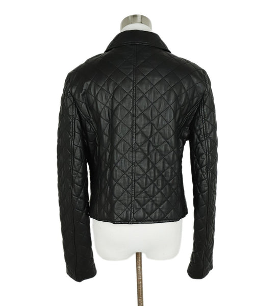 Michael Kors Black Quilted Leather Jacket Outerwear 3