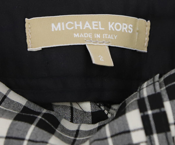 Michael Kors Black White Plaid Wool Pants 3