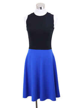 Michael Kors Black and Blue Colorblock Wool Dress