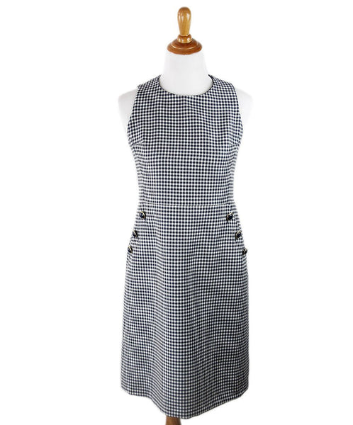 Michael Kors Navy White Check Wool Dress Sz 10