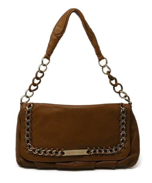 Michael Kors Brown Tan Leather Shoulder Bag with Gold Chain Detail 1