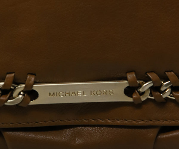 Michael Kors Brown Tan Leather Shoulder Bag with Gold Chain Detail 7