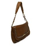 Michael Kors Brown Tan Leather Shoulder Bag with Gold Chain Detail 2