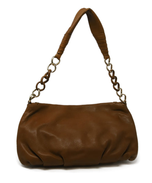Michael Kors Brown Tan Leather Shoulder Bag with Gold Chain Detail 3