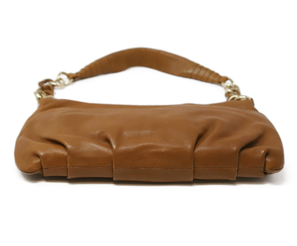 Michael Kors Brown Tan Leather Shoulder Bag with Gold Chain Detail 4