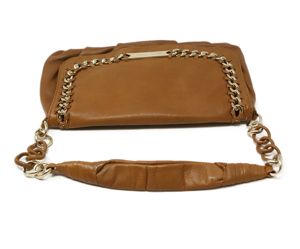 Michael Kors Brown Tan Leather Shoulder Bag with Gold Chain Detail 5