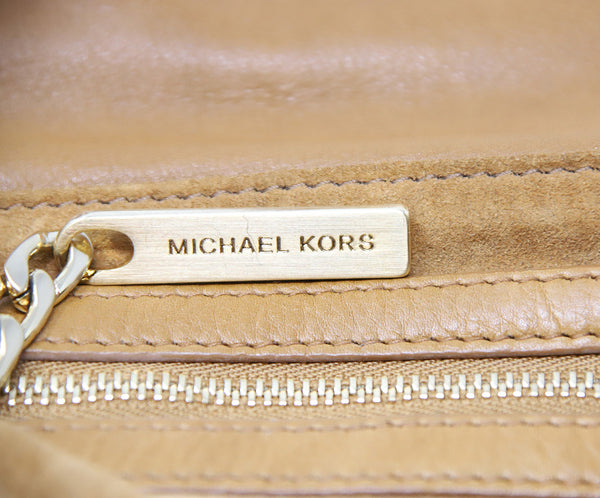 Michael Kors Brown Tan Leather Shoulder Bag with Gold Chain Detail 8