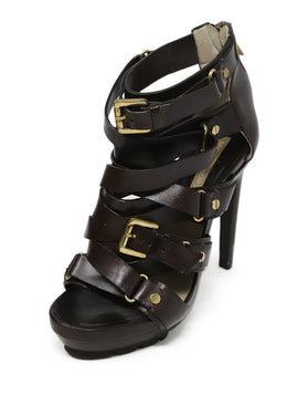 Michael Kors Shoe Brown Leather Gold Hardware Buckle Shoes 1