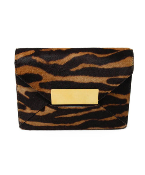 Michael Kors Brown Tan Haircalf Clutch 1