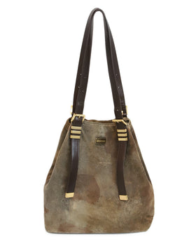 Michael Kors Brown Distressed Suede Leather Shoulder Bag 1