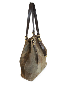 Michael Kors Brown Distressed Suede Leather Shoulder Bag 2