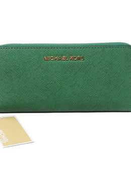 Michael Kors Green Leather Wallet 1