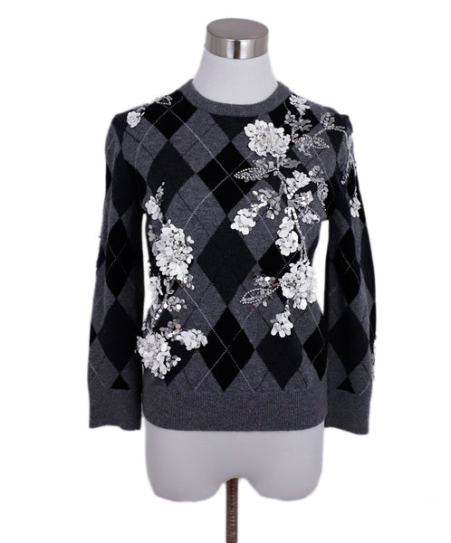 Michael Kors Grey Black Cashmere Argyle White Silver Sequins Sweater 1