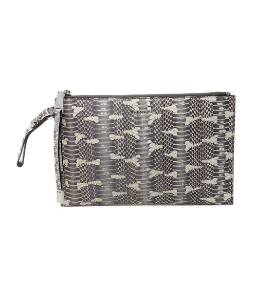 Michael Kors Grey White Python Clutch 1