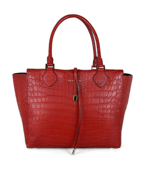 Michael Kors Red Crocodile Tote 1