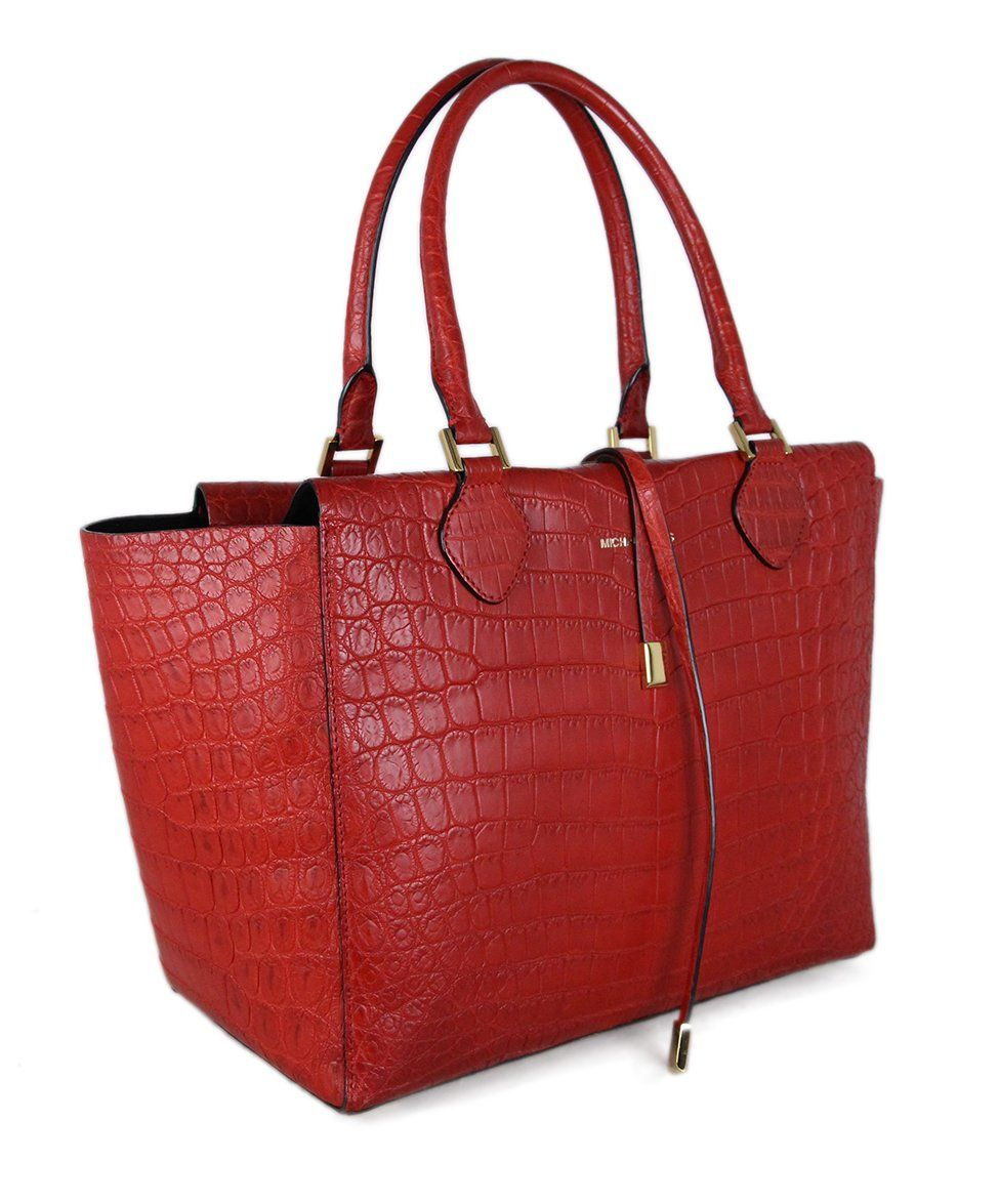 Michael Kors Red Crocodile Tote 2