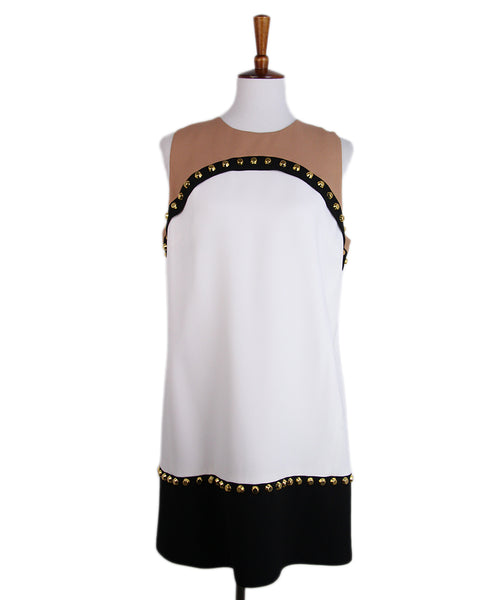 Michael Kors White Black Tan Studs Dress 1