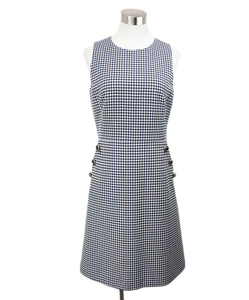 Michael Kors White Navy Check Print Dress 1