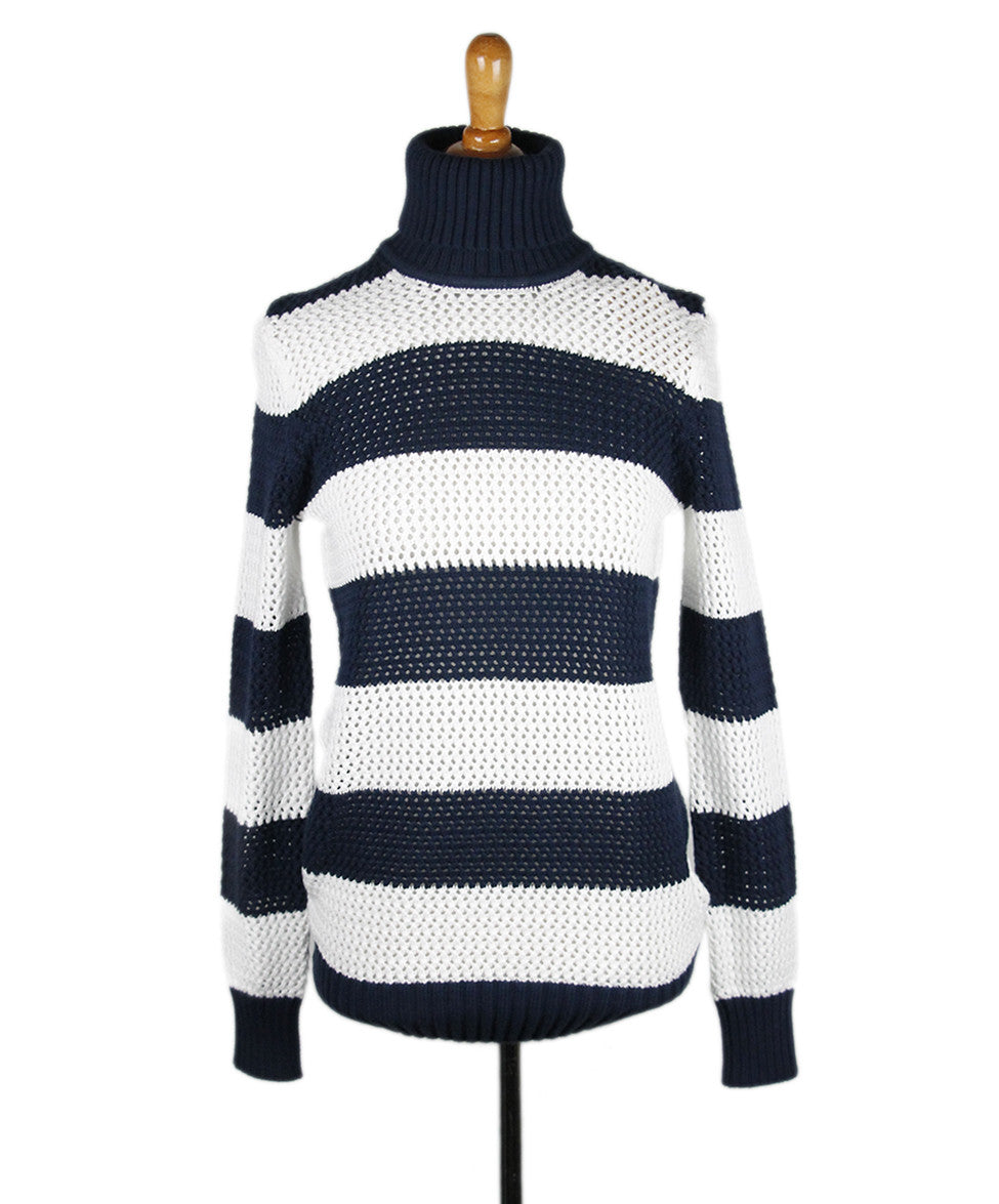 Michael Kors White Navy Stripe Cotton Sweater Sz 0
