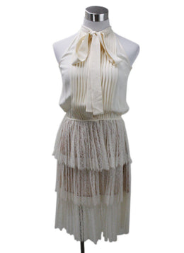 Michael Kors Beige Silk Lace Tiered Dress