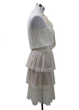 Michael Kors Beige Silk Lace Tiered Dress 1