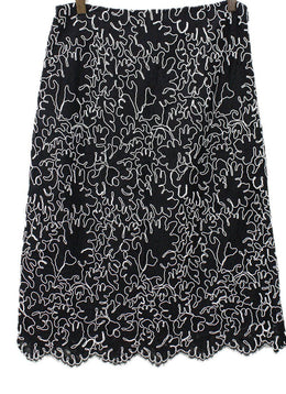 Michael Kors Black White Lace Skirt