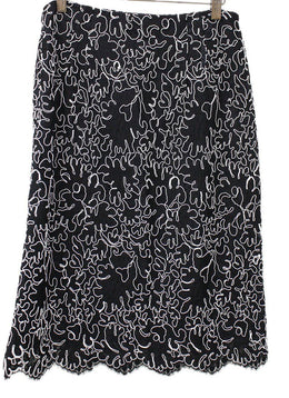 Michael Kors Black White Lace Skirt 1