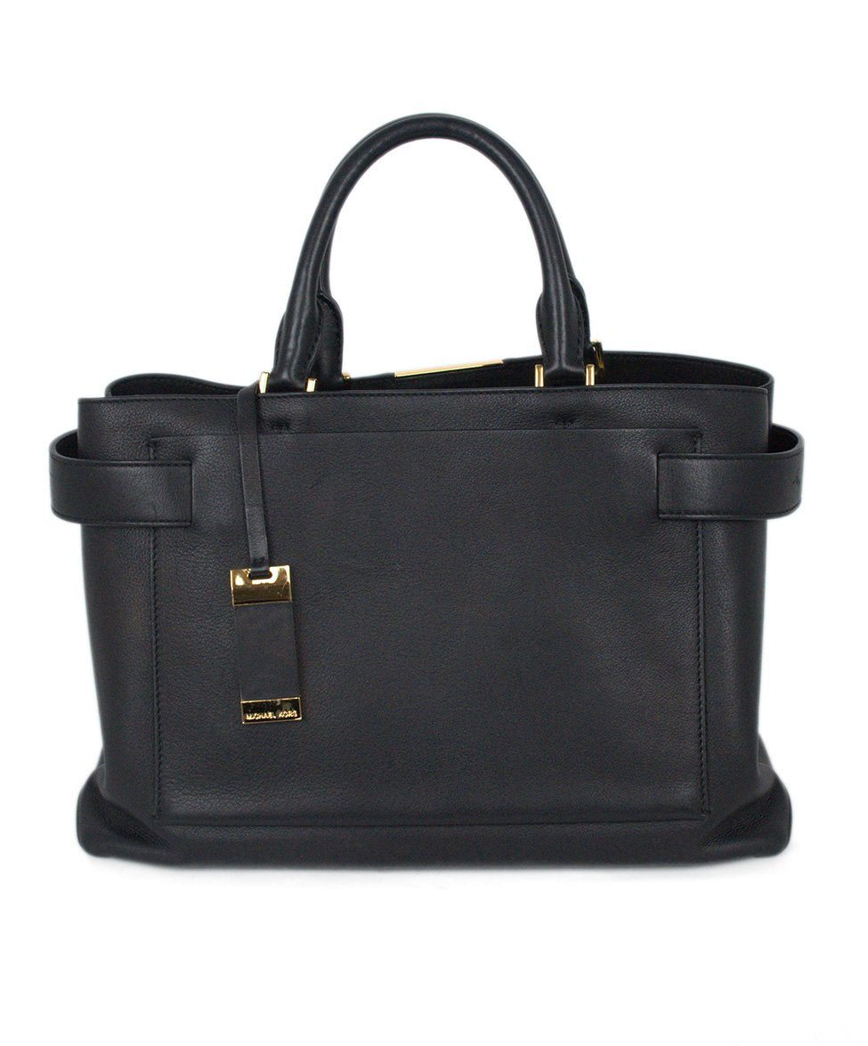 Michael Kors Black Leather Satchel  Handbag 3