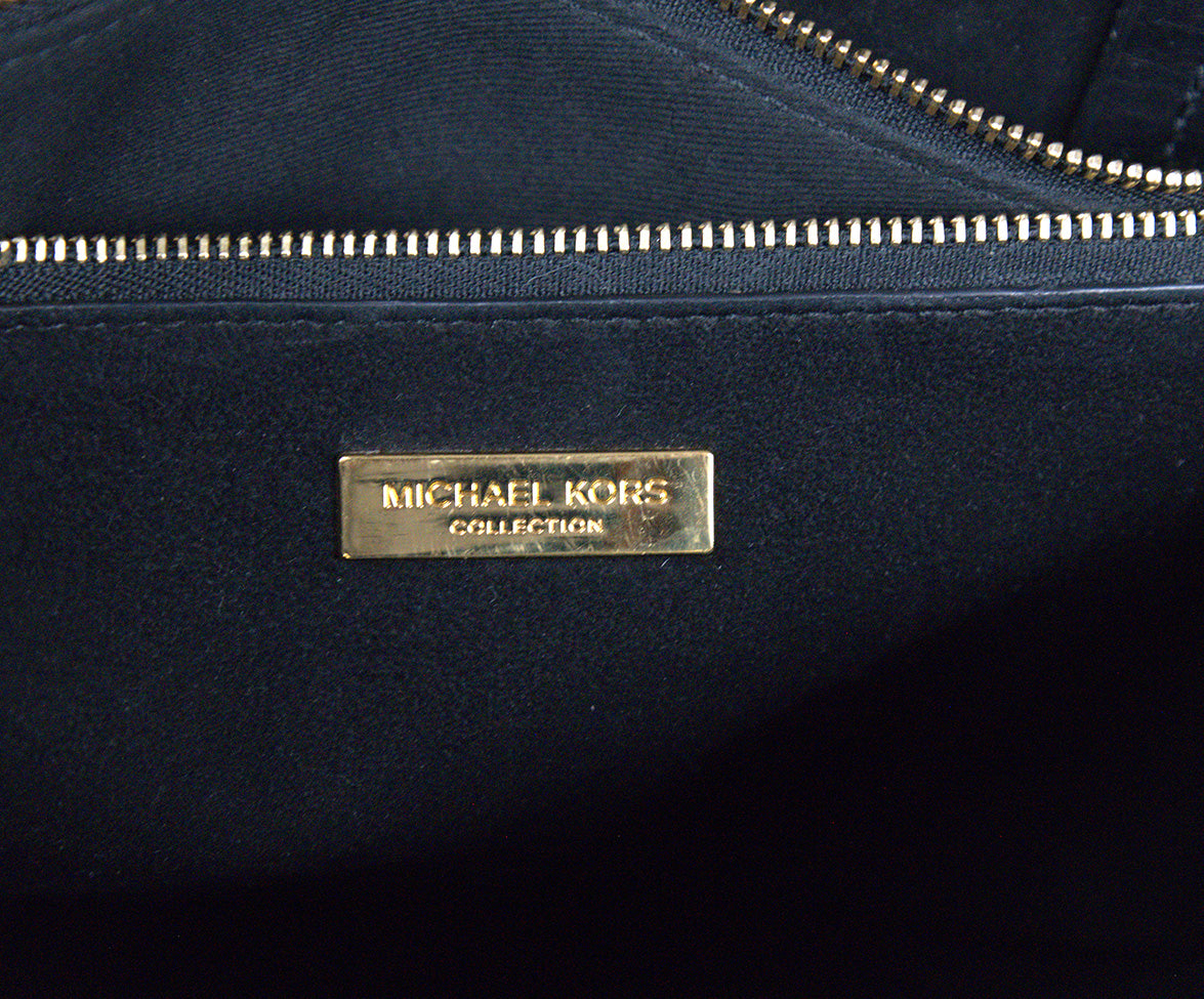 Michael Kors Black Leather Satchel  Handbag