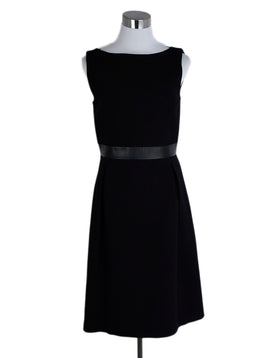 Michael Kors Black Wool Leather Trim Dress 1