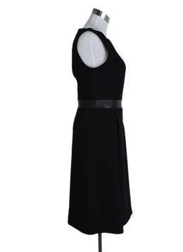 Michael Kors Black Wool Leather Trim Dress 2