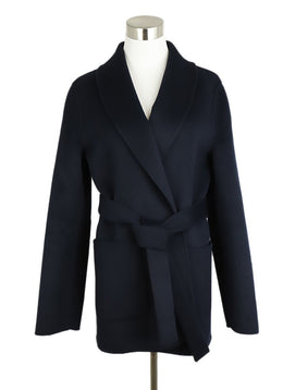 Michael Kors Navy Wool Angora Cashmere Coat 1