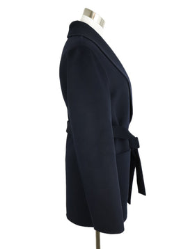 Michael Kors Navy Wool Angora Cashmere Coat 2