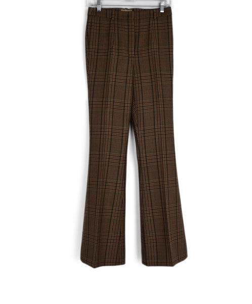 Michael Kors Collection Brown Tan Green Plaid Wool Pants 1