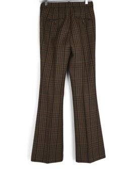 Michael Kors Collection Brown Tan Green Plaid Wool Pants 2