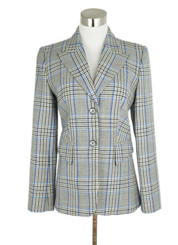 Michael Kors Grey Blue Black Plaid Wool Jacket 1